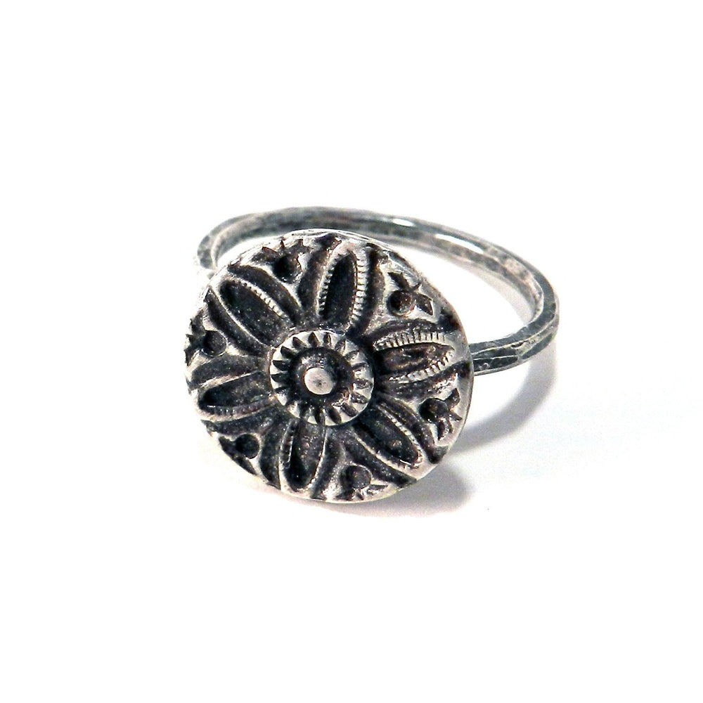 SUNLIGHT Antique Button Ring - Sterling Silver