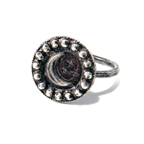 CRESCENT MOON Antique Button Ring - Sterling Silver