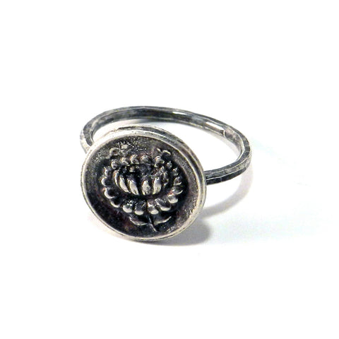 Victorian Rose Antique Button Ring - Sterling Silver