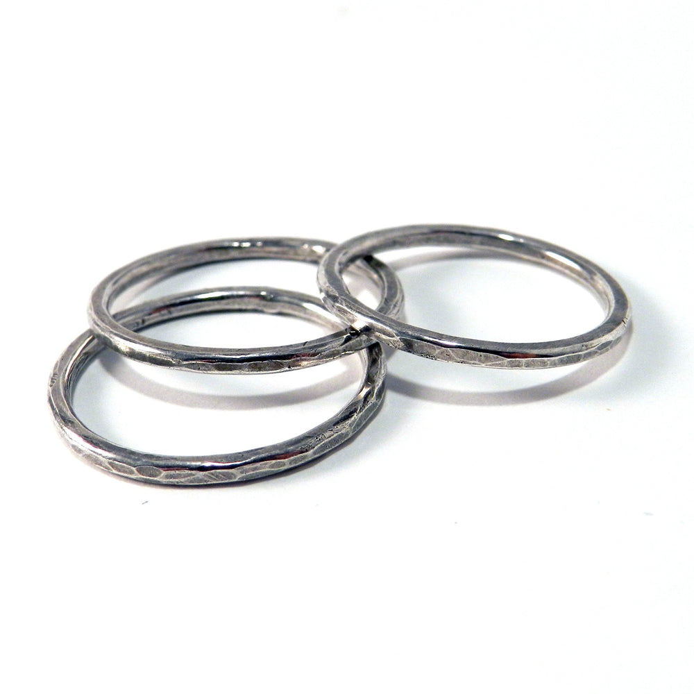 Sterling Silver Hammered Stacker Ring