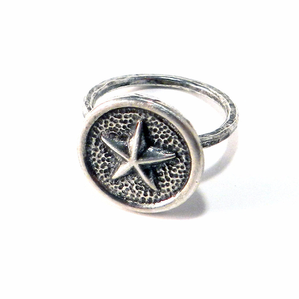 STAR Antique Button Ring - SILVER