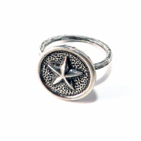 STAR Antique Button Ring - Sterling Silver