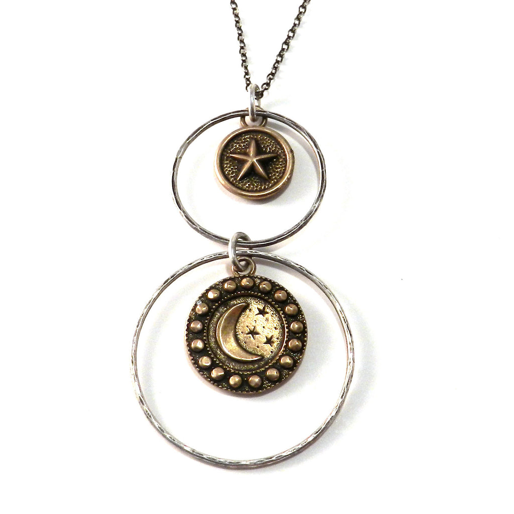 STARRY NIGHT Antique Button Necklace - Mixed Metal