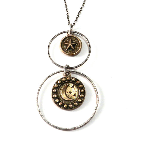 MOON + STAR Antique Button Necklace - Mixed Metal Double Halo