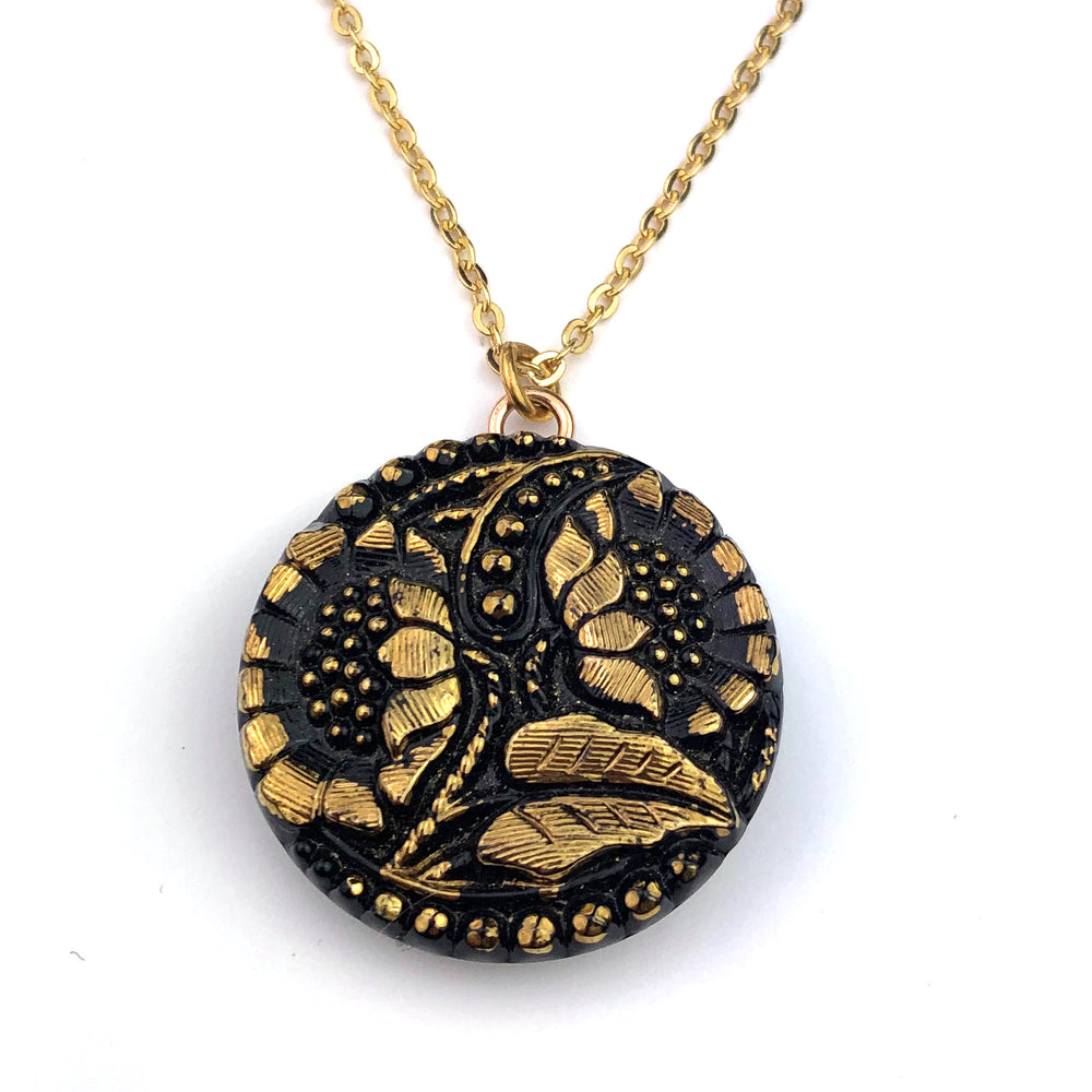 SUNFLOWERS Vintage Button Necklace - Gold & Black