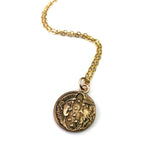 MOON & SUN Antique Button Necklace - GOLD