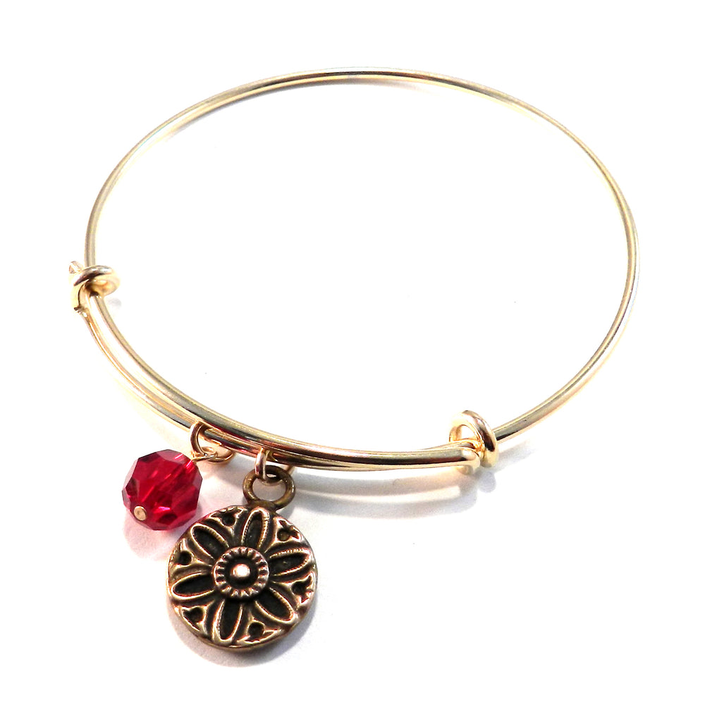 SUNLIGHT Antique Button Bangle Charm Bracelet - BRONZE
