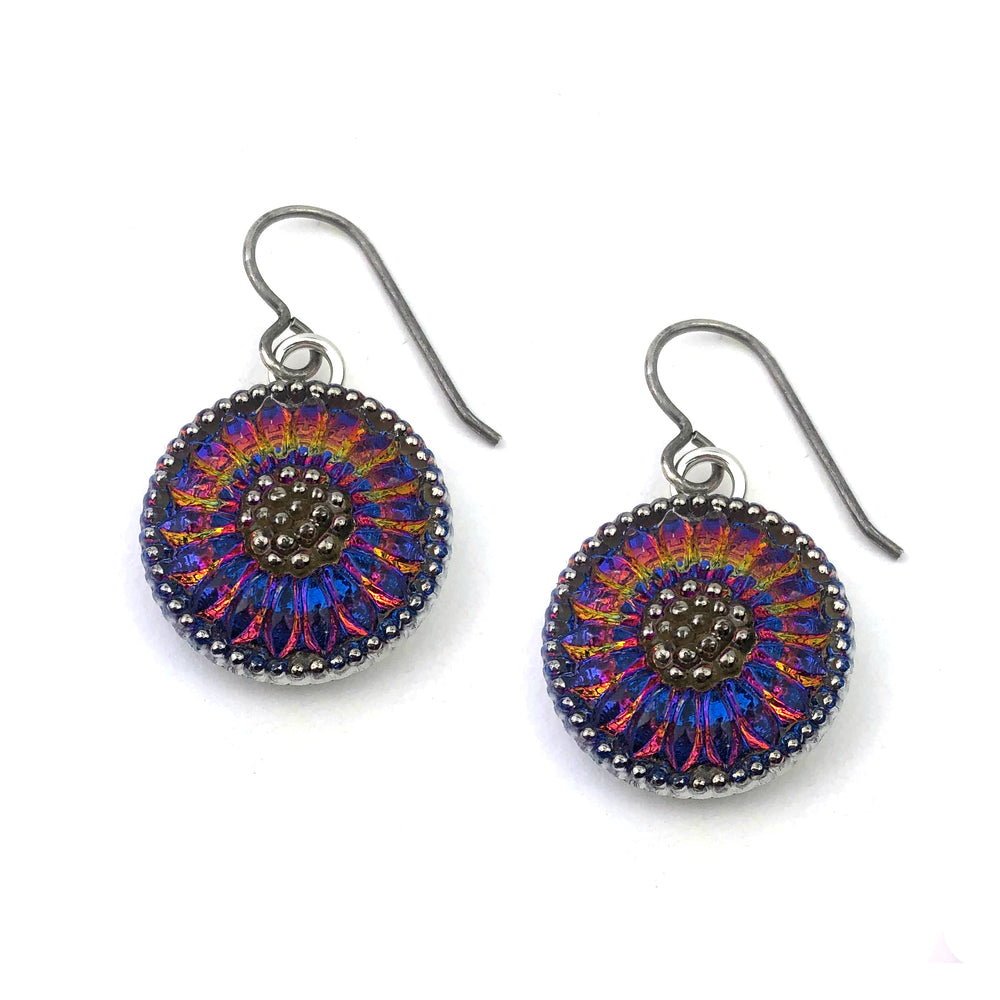 SUNRISE Bohemian Glass Button Earrings - Silver