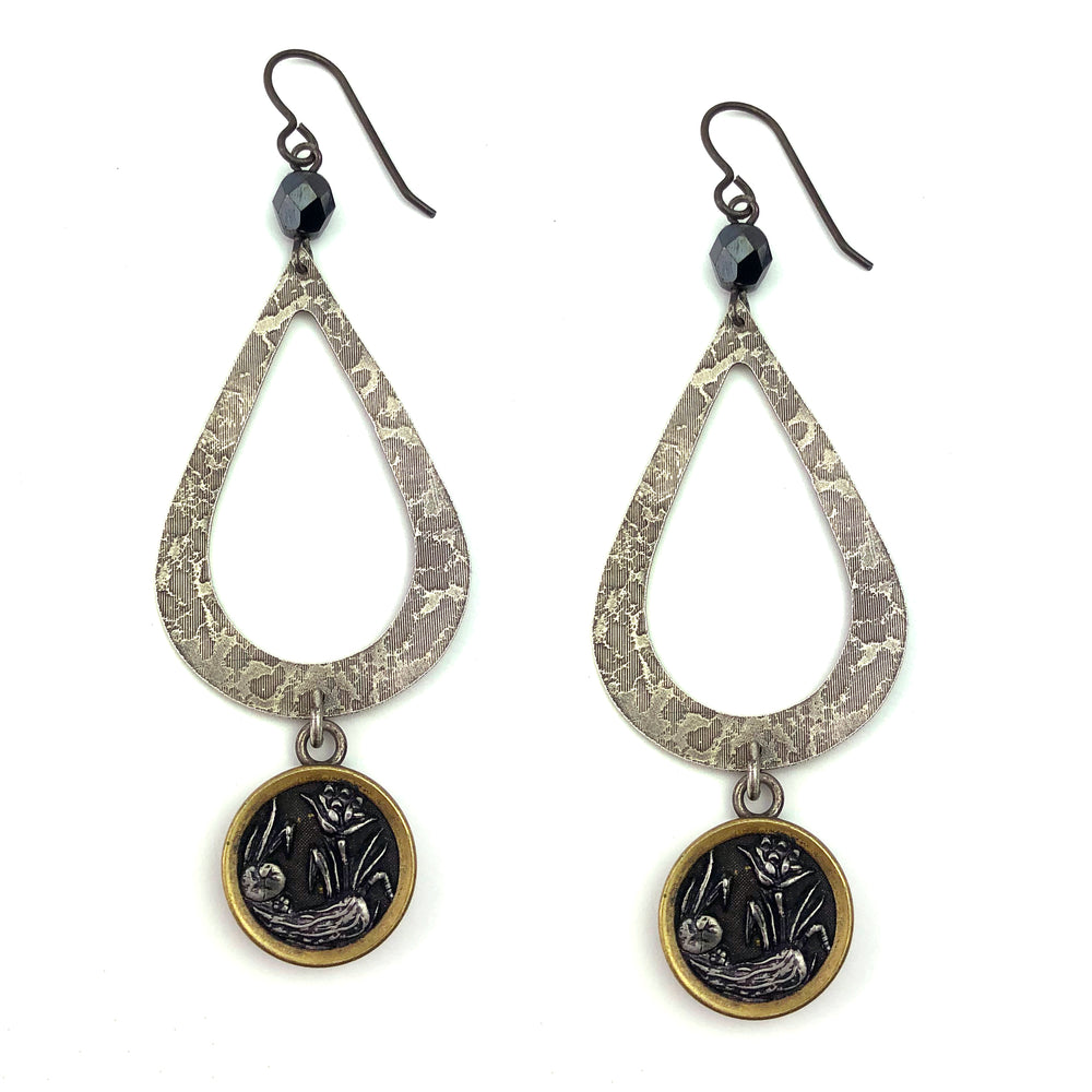 Victoria Botanica Antique Button Silver Teardrop Earrings