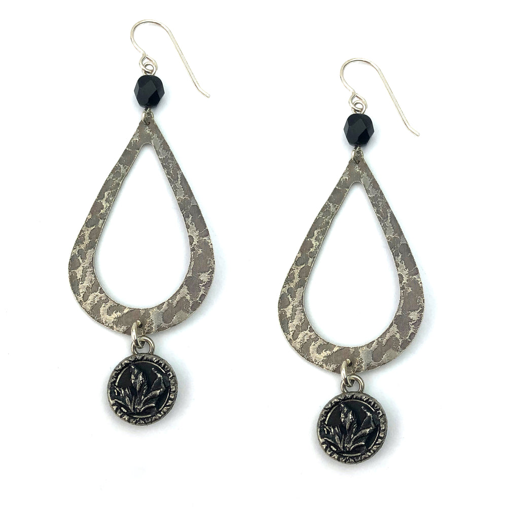 SILVERLIGHT BLOSSOM Vintage Button Teardrop Earrings - Silver
