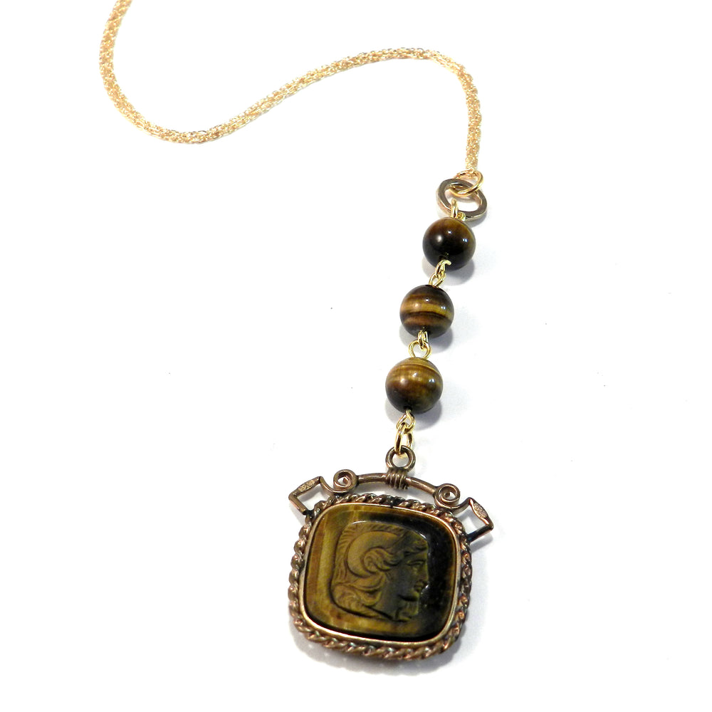 Greek Revival Tiger's Eye Intaglio Necklace
