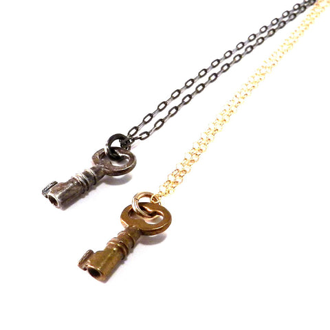 Jewel Box Key Necklace - Bronze or Silver