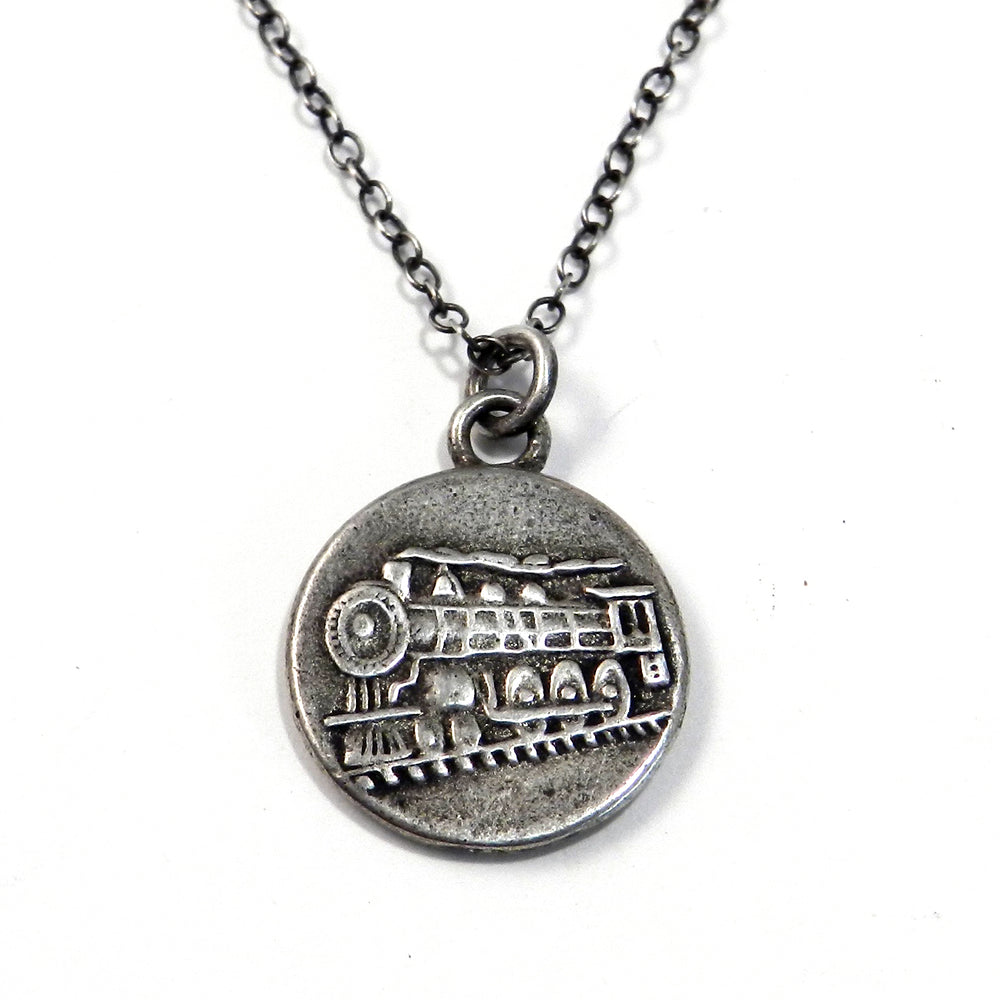 STEAM TRAIN Antique Button Necklace - SILVER