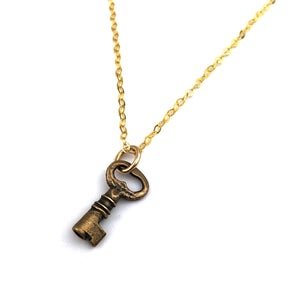 Treasure Box Key Necklace - GOLD