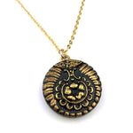 NEARLY PAISLEY - Antique Button Necklace - GOLD