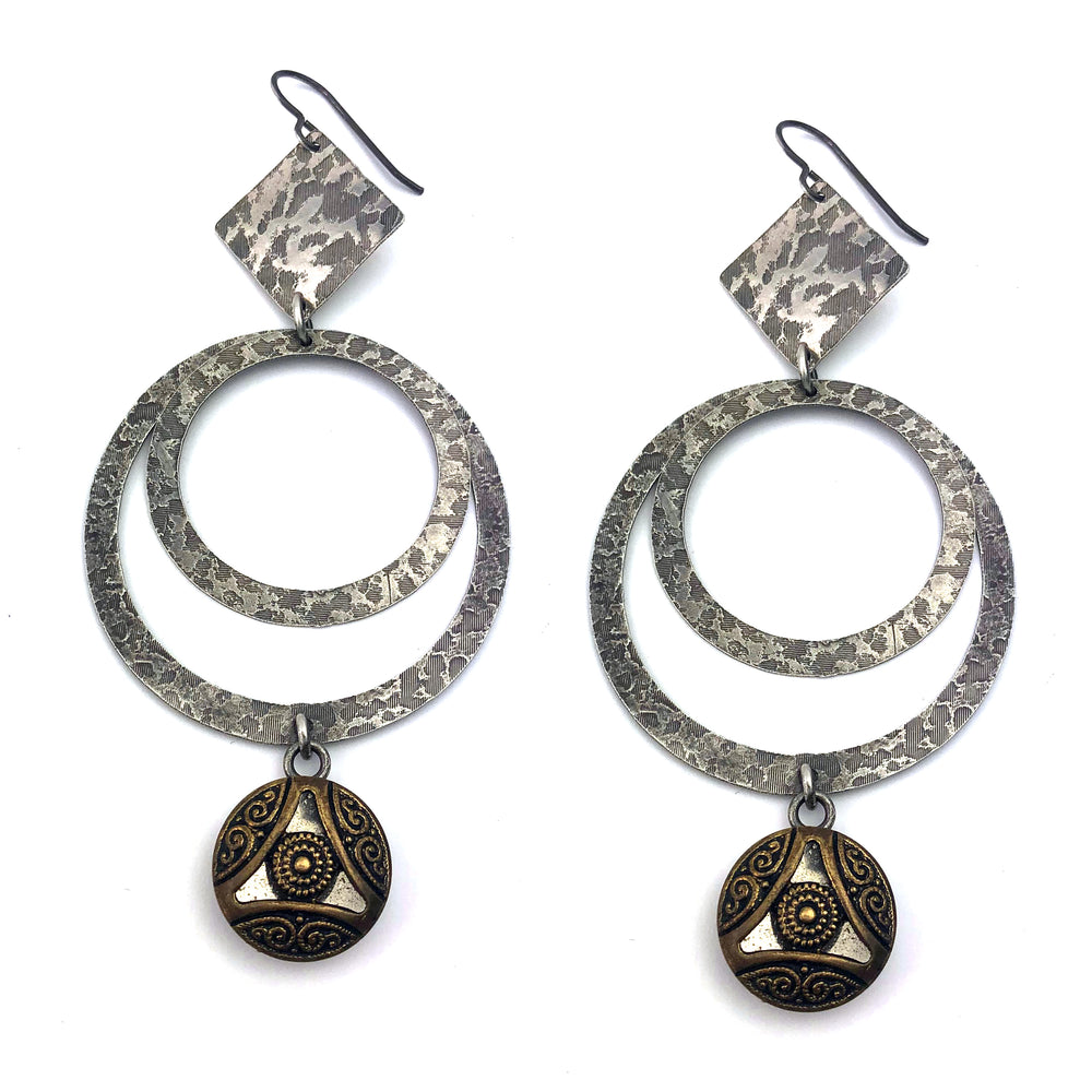 MIRROR SPARKLE Antique Button Silver Statement Earrings