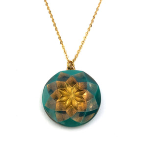 Turquoise Star Bohemian Button Necklace - Gold
