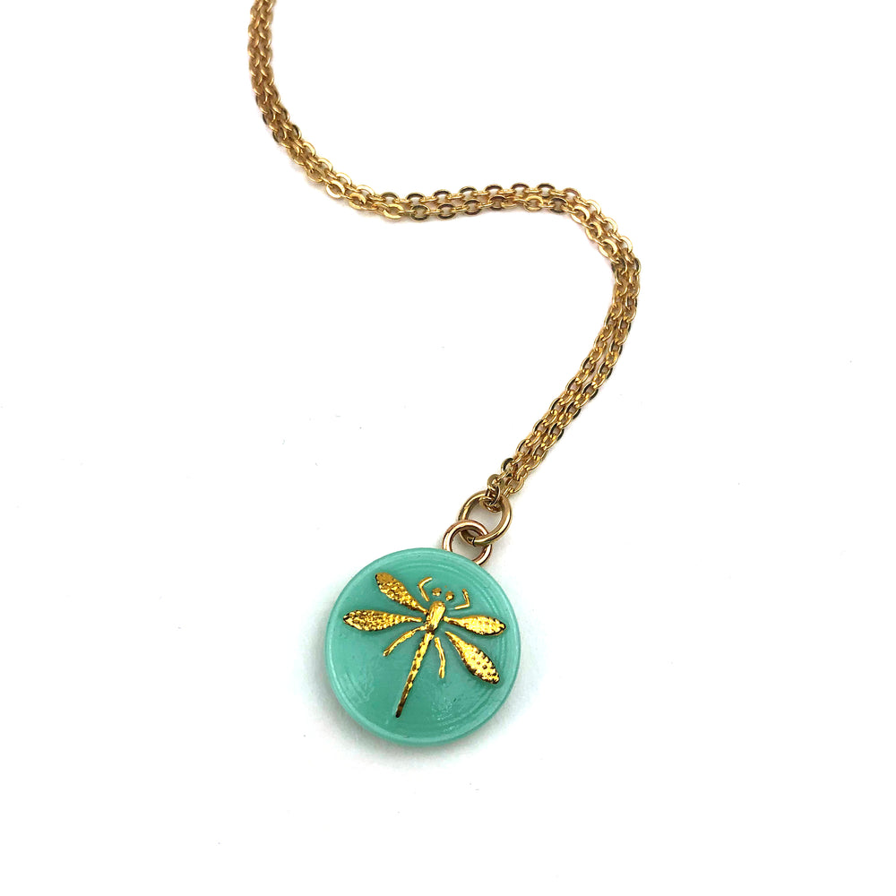 SPRING DRAGONFLY Petite Vintage Button Necklace - GOLD
