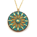 TURQUOISE MANDALA Mandala Necklace - GOLD