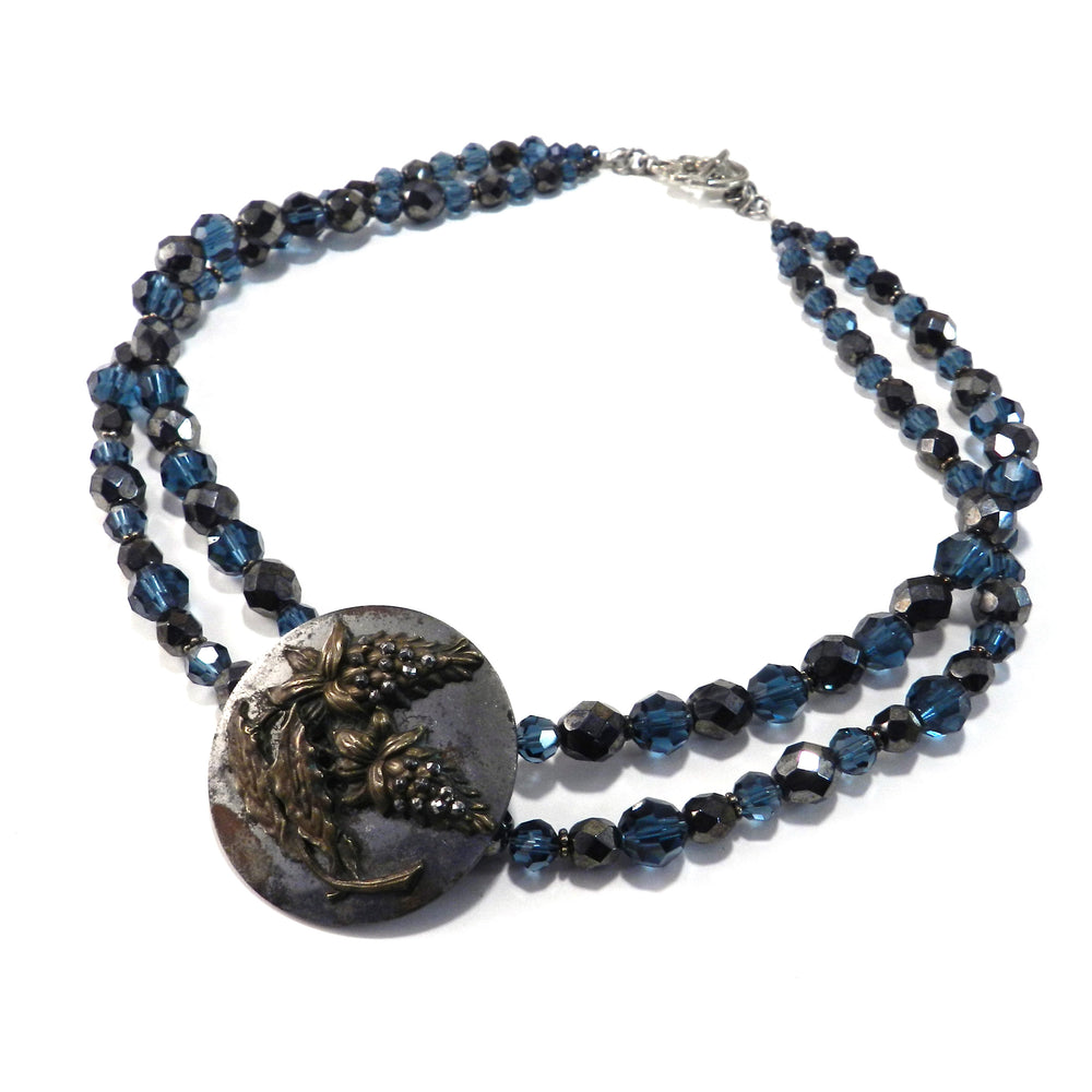 Wisteria Antique Button Choker Necklace - Blue Steel