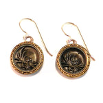 VICTORIAN GOLD Antique Button Earrings - Gold