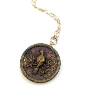 Magnificent DOVE Antique Button Necklace