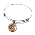 VINTAGE BICYCLE Antique Button Bangle Charm Bracelet - MIXED METAL
