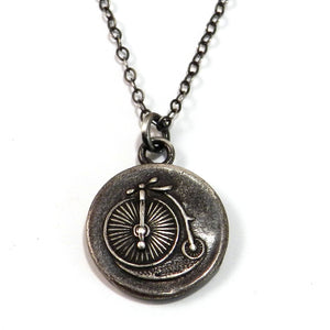 VINTAGE BICYCLE Antique Button Necklace - SILVER