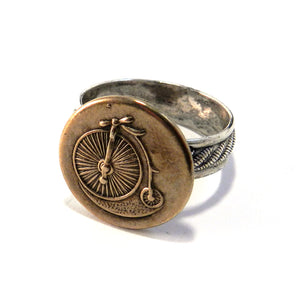 VINTAGE BICYCLE Ring - Striped Band - MIXED METAL