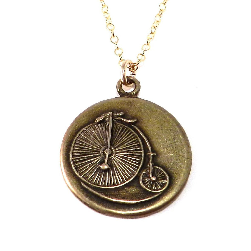 Large VINTAGE BICYCLE Classic Necklace - BRONZE