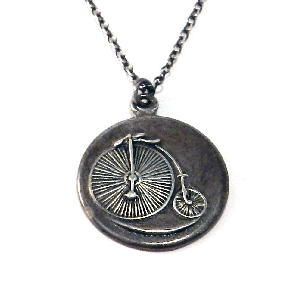 Large VINTAGE BICYCLE Classic Necklace - SILVER