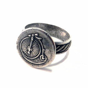 VINTAGE BICYCLE Ring - Striped Band - SILVER