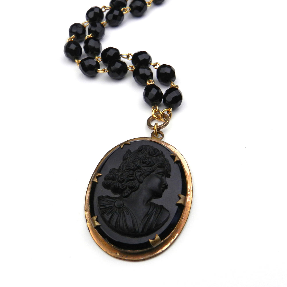Vintage Black Glass Neoclassical Cameo