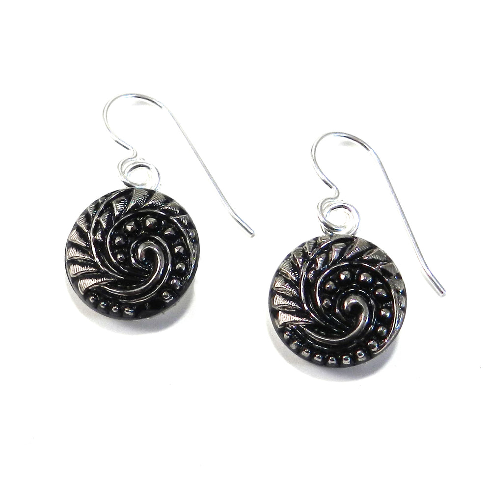 SILVER GALAXY Vintage Button Earrings - Silver