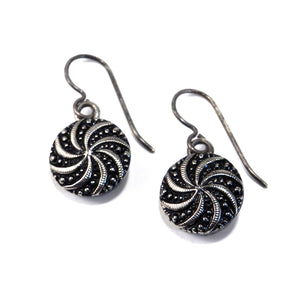 SILVER SPIRAL Vintage Button Earrings - Silver