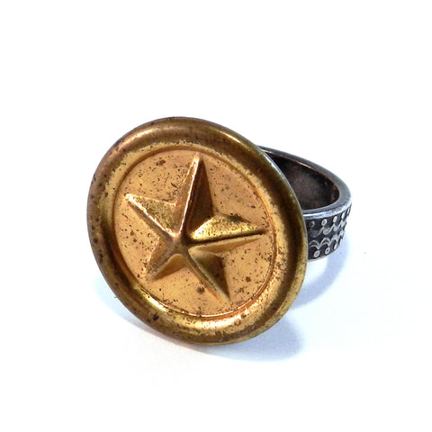 Vintage Star - Antique Button Ring - Size 8