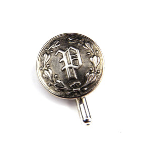 "Letter ""P"" Vintage Police Button Pin - Steel"