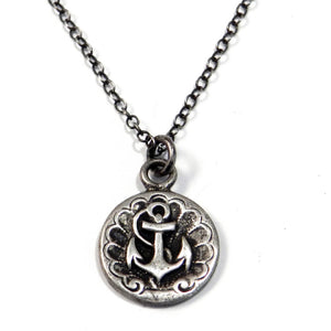 vintage anchor charm necklace layering