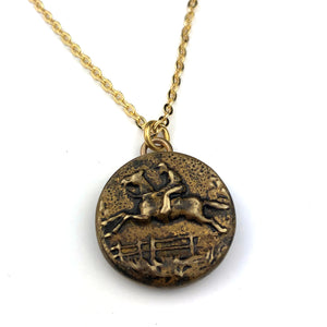 JUMPING HORSE Vintage Button Necklace - Gold