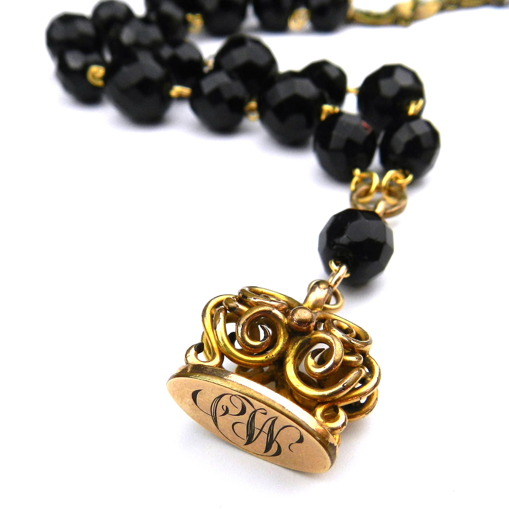 "Woven Gold Watch Fob Necklace - Onyx ""CW"" initials"