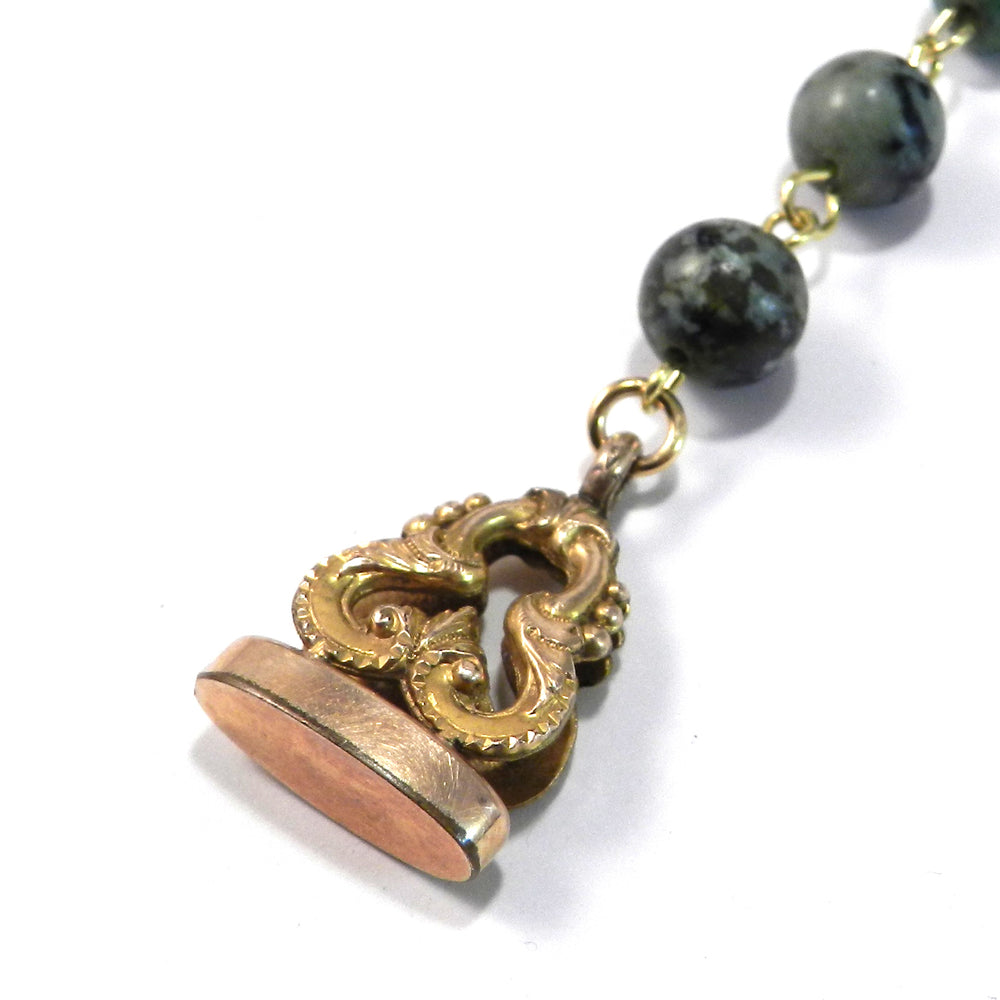 Victorian Wax Seal Watch Fob Necklace with Turquoise