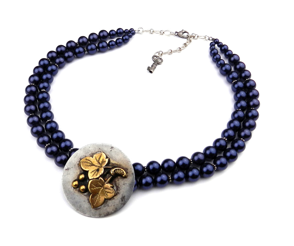 Garden of Eden Antique Button Choker Necklace - Blue Pearls