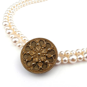 Ornate Cut Steel Antique Button Bridal Necklace - Pearl