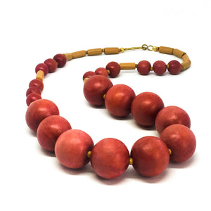 SLJ Don't Make Me Blush Necklace Wooden Beads Bohemian Island Classic Handmade Natural Spiritual Travel Resort Boho Chic Collection