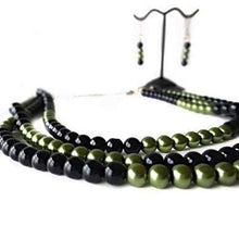 Load image into Gallery viewer, SLJ Black Hornet Pearl Jewelry Set Necklace Earrings Black Green Pearl Handmade Evening Unique Fashion Jewelry Travel Jewelry Clearance Sale