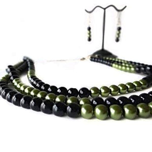 SLJ Black Hornet Pearl Jewelry Set Necklace Earrings Black Green Pearl Handmade Evening Unique Fashion Jewelry Travel Jewelry Clearance Sale