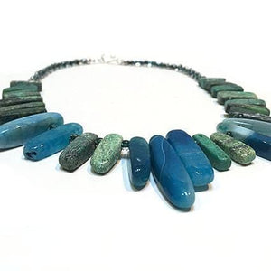 SLJ Blue Fountain Goddess Necklace Handmade Natural Spiritual Travel Resort Boho Chic Collection Turquoise Green Stone
