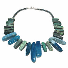 Load image into Gallery viewer, SLJ Blue Fountain Goddess Necklace Handmade Natural Spiritual Travel Resort Boho Chic Collection Turquoise Green Stone