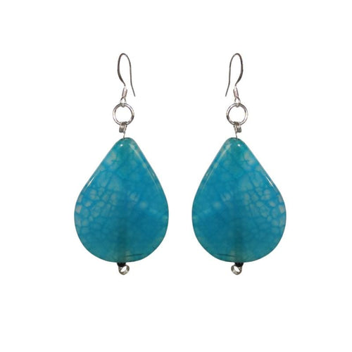 Blue Glass Teardrop Earrings - Sasha L JEWELS LLC