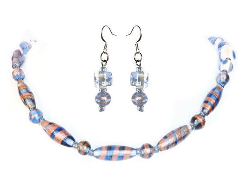SLJ Blue Kaleidoscope Jewelry Set Earrings Necklace Glass Beaded Handmade Evening Unique Fashion Jewelry Travel Jewelry Clearance Sale Bridal Gift Graduation Fun Elite Accessories Luxury Lifestyle Accessories